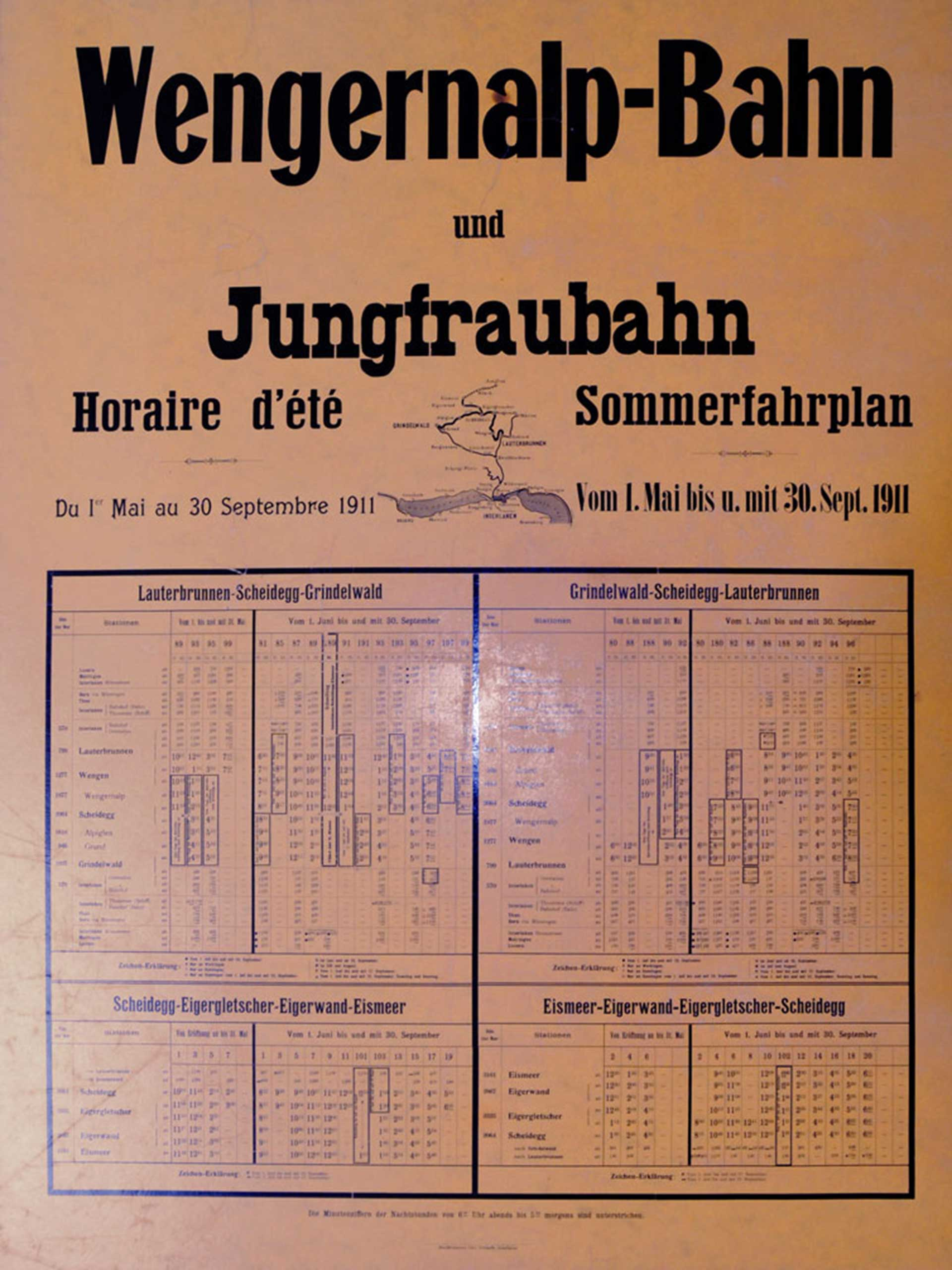 Wengernalp- and Jungfraubahn - Timetable